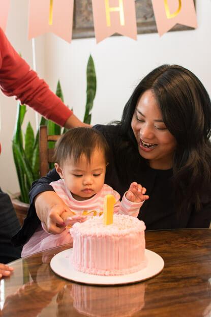 Emilia eating her smash cake