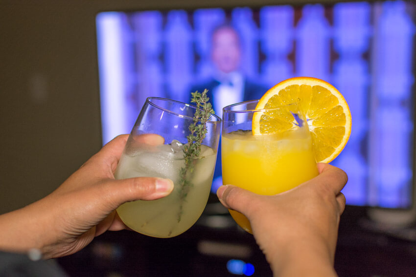 Cocktails while watching the Golden Globe Awards