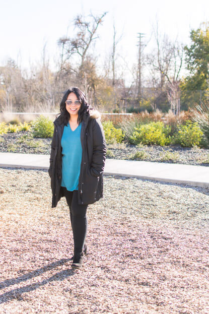 Barb in Loft jacket, sweater tunic and leggings at the park