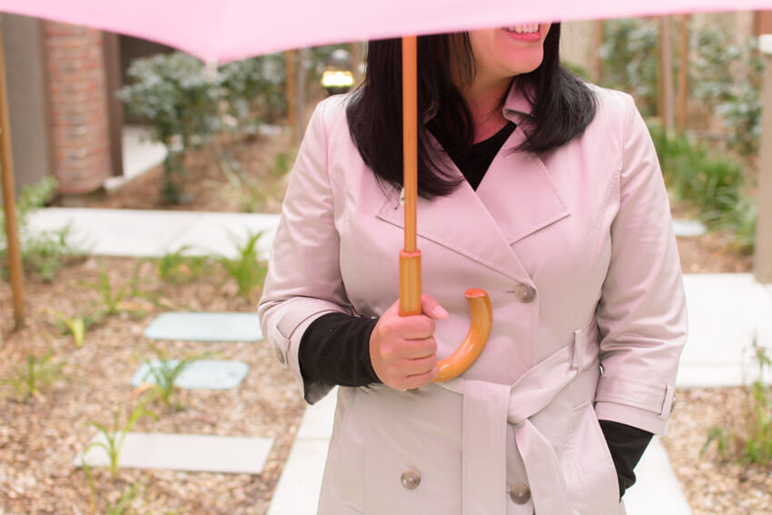 Old Navy Trench Coat with Pink umbrella