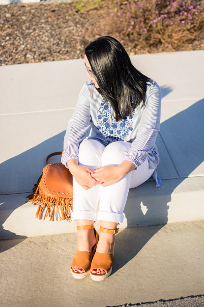 Old Navy top, LOFT jeans, Bag from Nordstrom and Steve Madden wedges