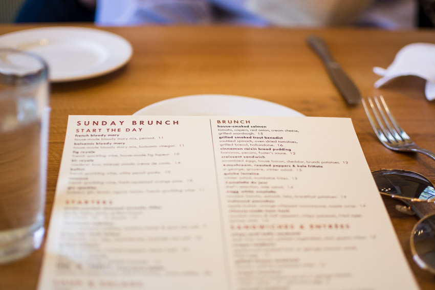 The menu at The Girl & The Fig restaurant