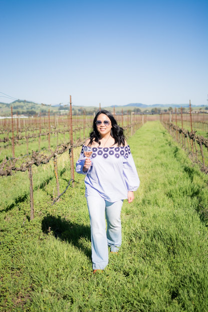 Barb at Larson Family Winery wearing LOFT top