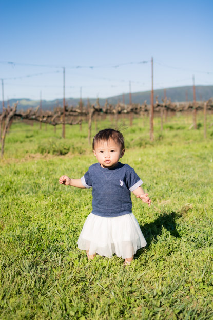 Emilia walking at Larson Family Winery