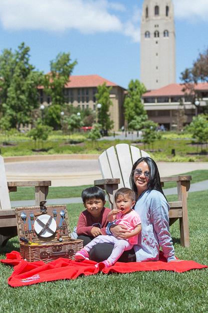 Barb, Gabe and Emilia having picnic at Stanford University