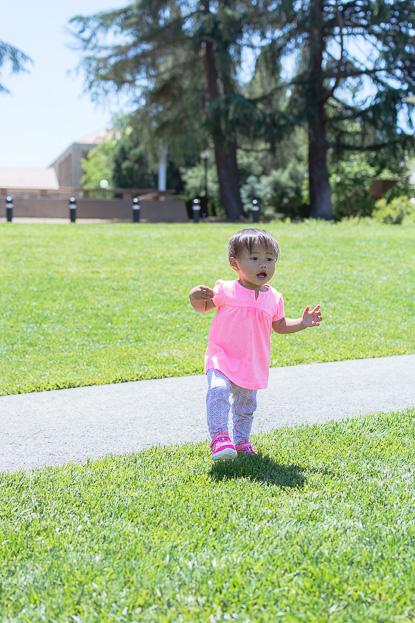 Emilia running around