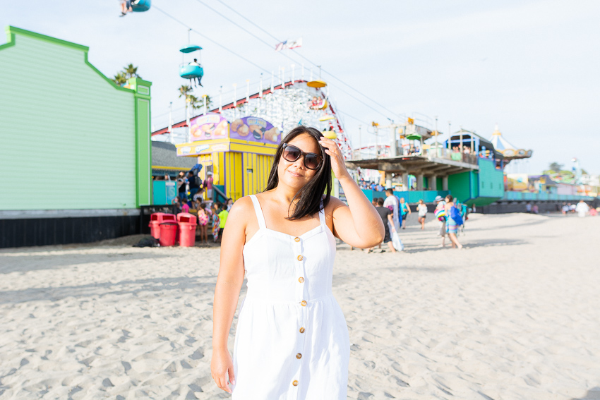 Barb on the beach at Santa Cruz Beach Boardwalk wearing Loft dress