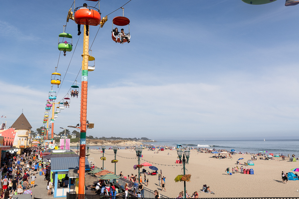 Sky Glider and Beach at Santa Cruz Beach Boardwalk