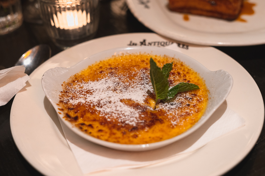 Creme Brûlée at Les Antiquaires Brasserie in Paris France