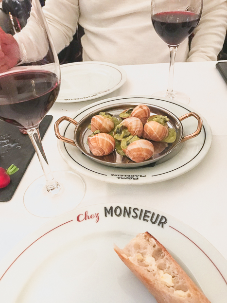 Escargots at Chez Monsieur in Paris France