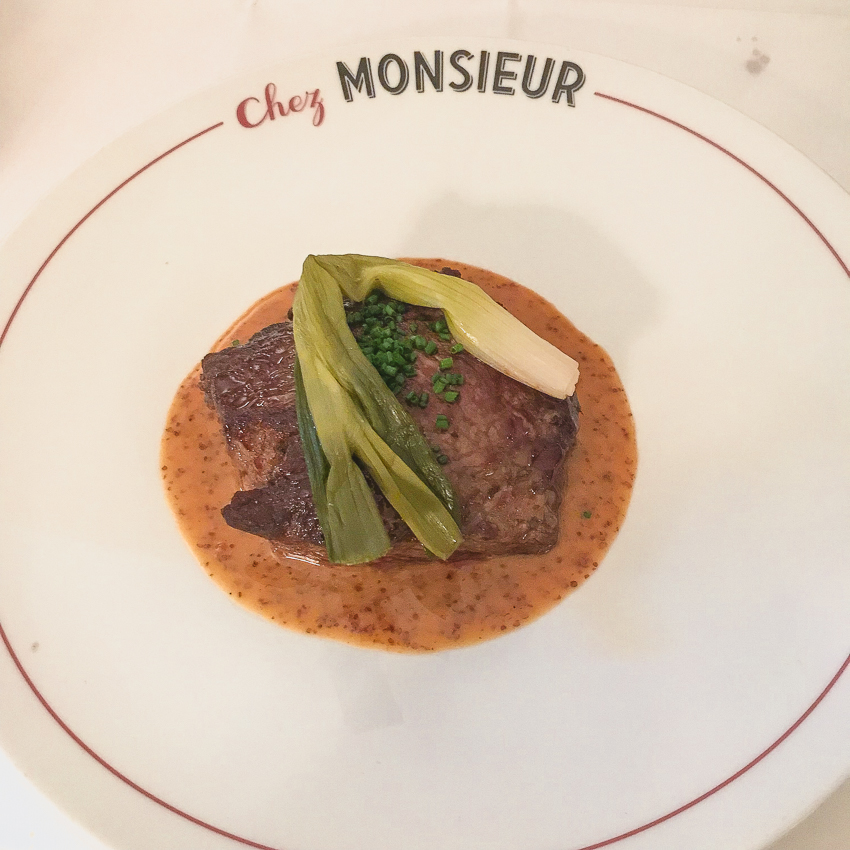 Rum steak at Chez Monsieur in Paris France