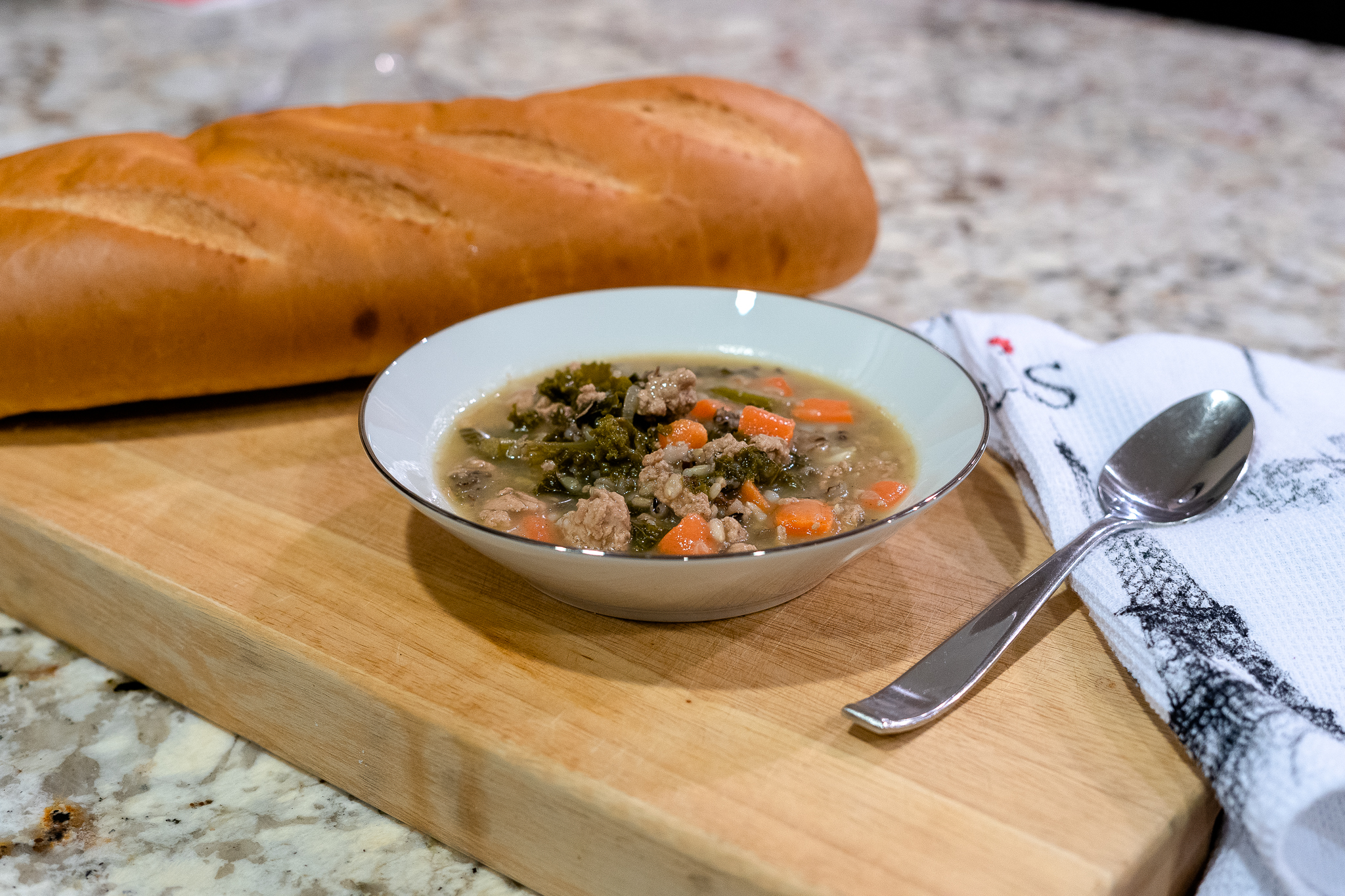 A bowl of Turkey and Wild Rice Soup